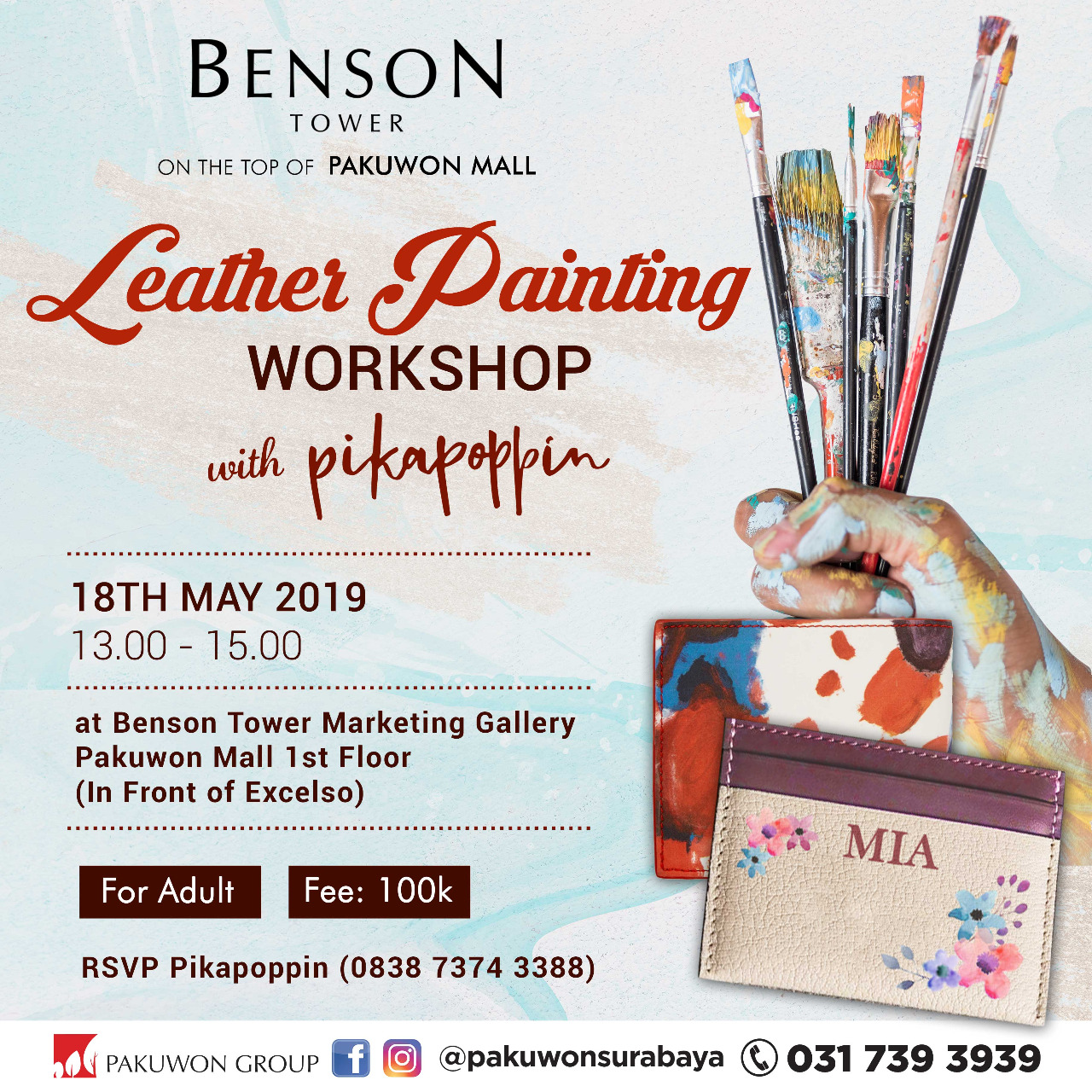 Leather Painting Workshop at Benson Tower with Pikapoppin