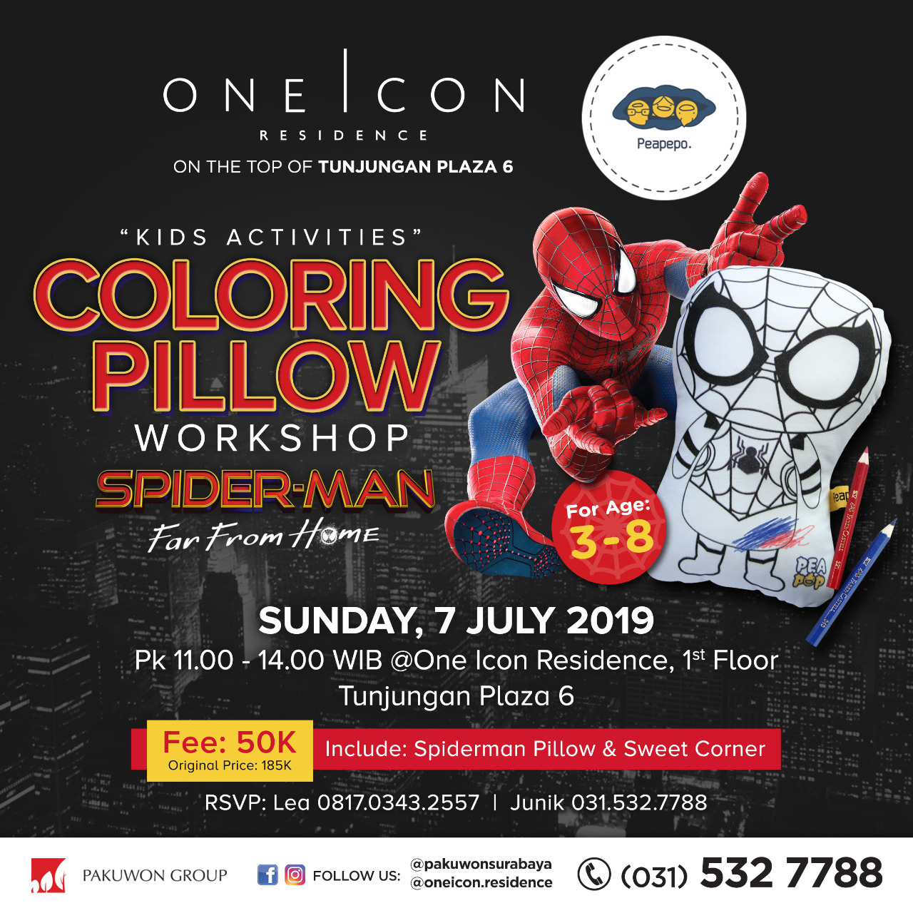 Kids Activities Coloring Pillow Workshop with Peapepo at One Icon Residence